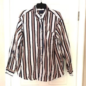 Basic Editions Vintage Button Shirt White Black XL